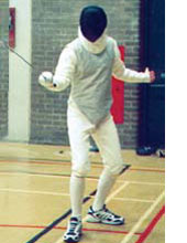 fencer with equipment